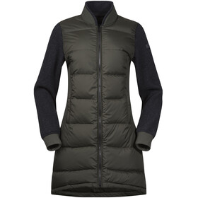 Bergans Oslo Down Hybrid Long Jacket Women Seaweed/SolidCharcoal Mel